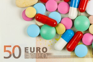 Fifty euro banknote whith pills on it
