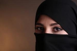 Beautiful muslim arabic woman in paranja